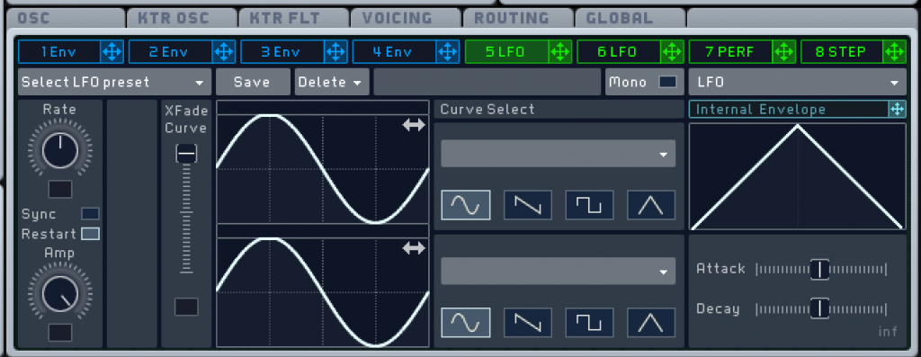 プラグインシンセサイザー「Massive」のLFO。オシレーターなので波形を選択することも出来る。